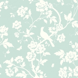 Chinoiserie Floral Wallpaper Mint Green