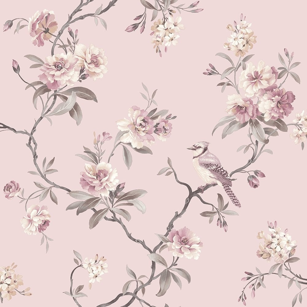 Fine decor chinoiserie floral wallpaper pink fd40766 for Oriental style wallpaper uk