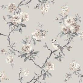 Chinoiserie Floral Wallpaper Stone
