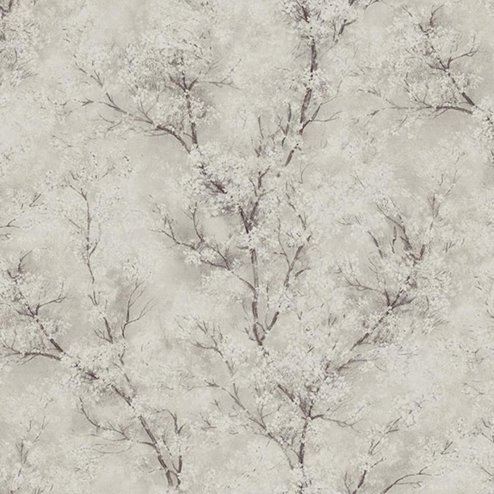 Chinoiserie Glitter Tree Wallpaper Cream Grey White Wallpaper