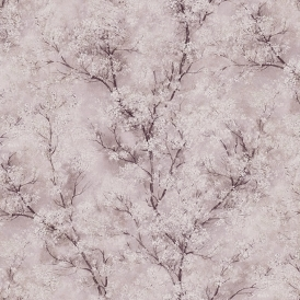 Chinoiserie Glitter Tree Wallpaper Pink, Brown, White