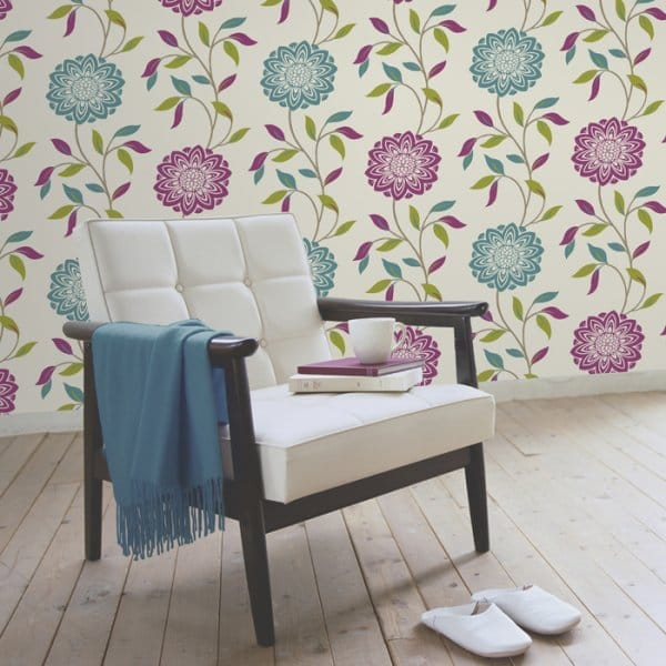 Chloe Wallpaper Teal Pink White   FD30595 Part 46