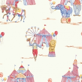 Circus Fun Childrens Wallpaper Red, Blue