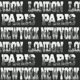 Cityscapes, Letters Wallpaper Black, Silver