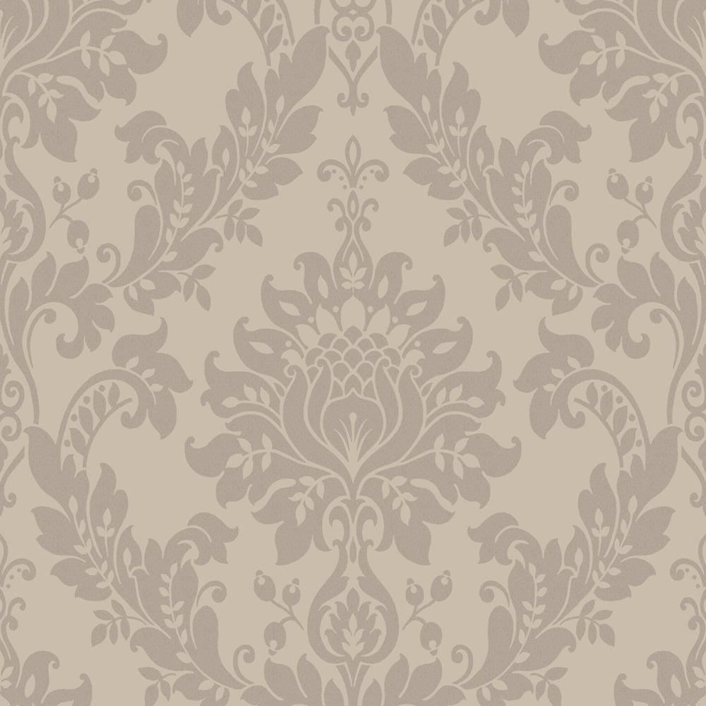 Designer Interiors Clara Damask Wallpaper Taupe 35392