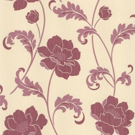 Classics Floral Acanthus Wallpaper Cream Red