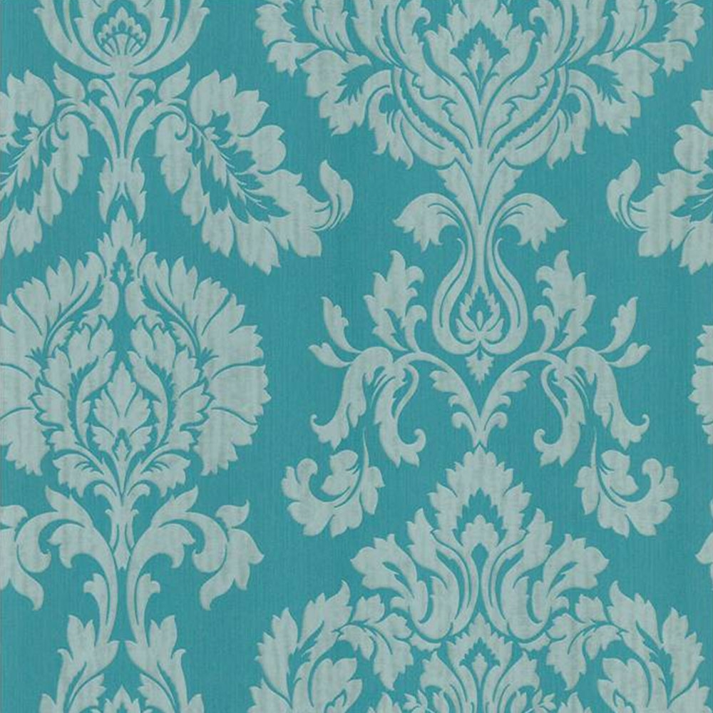Fine Decor Classics Large Damask Wallpaper Aqua Silver