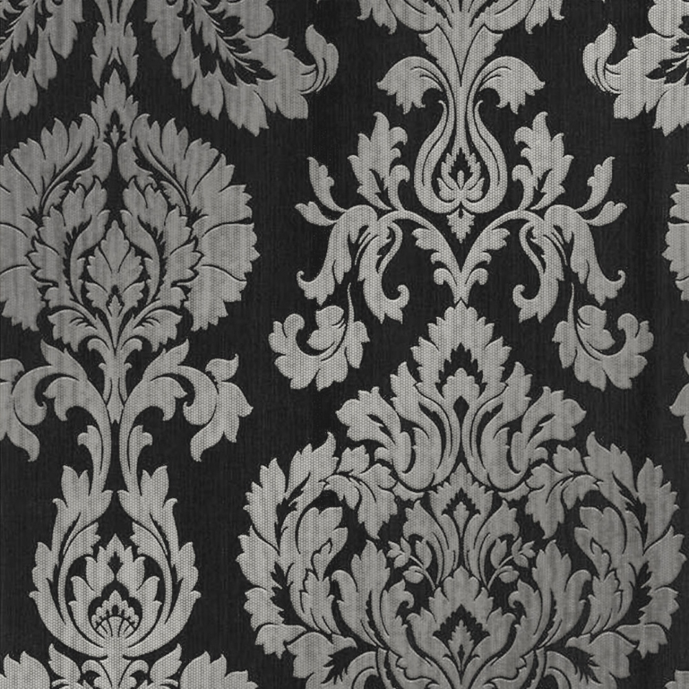 Classics Large Damask Wallpaper Black Silver Wallpaper