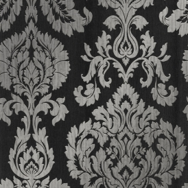 Classics Large Damask Wallpaper Black Silver