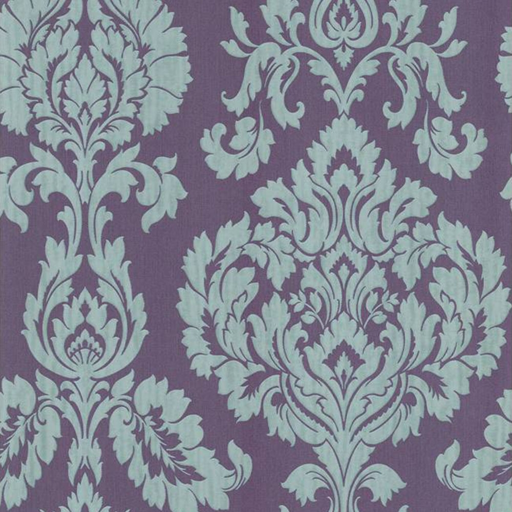 Fine Decor Classics Large Damask Wallpaper Purple Silver