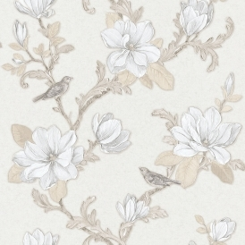 Clematis Floral Wallpaper Cream Beige