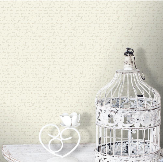 Coloroll Love Note Wallpaper Parchment Cream (M0818)