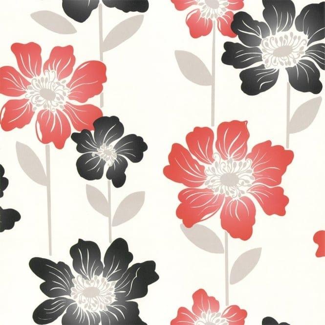 Home Wallpaper Coloroll Margarita Wallpaper Cherry Red / Latte (M0542)