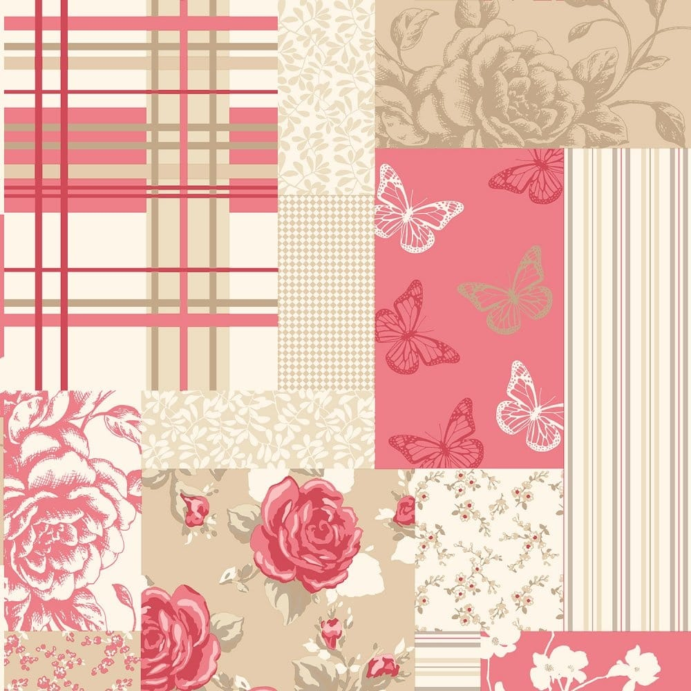 Coloroll Pollyanna Patchwork Floral Wallpaper Caramel Red