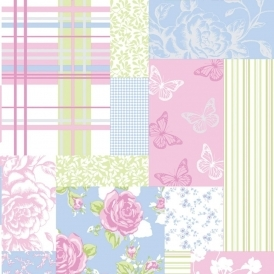 Pollyanna Patchwork Floral Wallpaper Green / Blue / Pink (M0720)