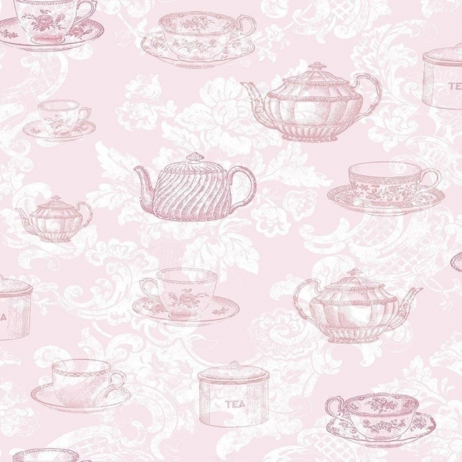 Kitchen Tea Background: Coloroll Teacups Wallpaper Pink (M0840)