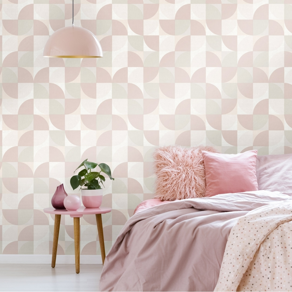 Concept Geometric Wallpaper Blush Pink Grey