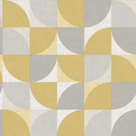 Concept Geometric Wallpaper Mustard, Grey