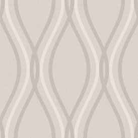 Contour Geo Wave Wallpaper Taupe
