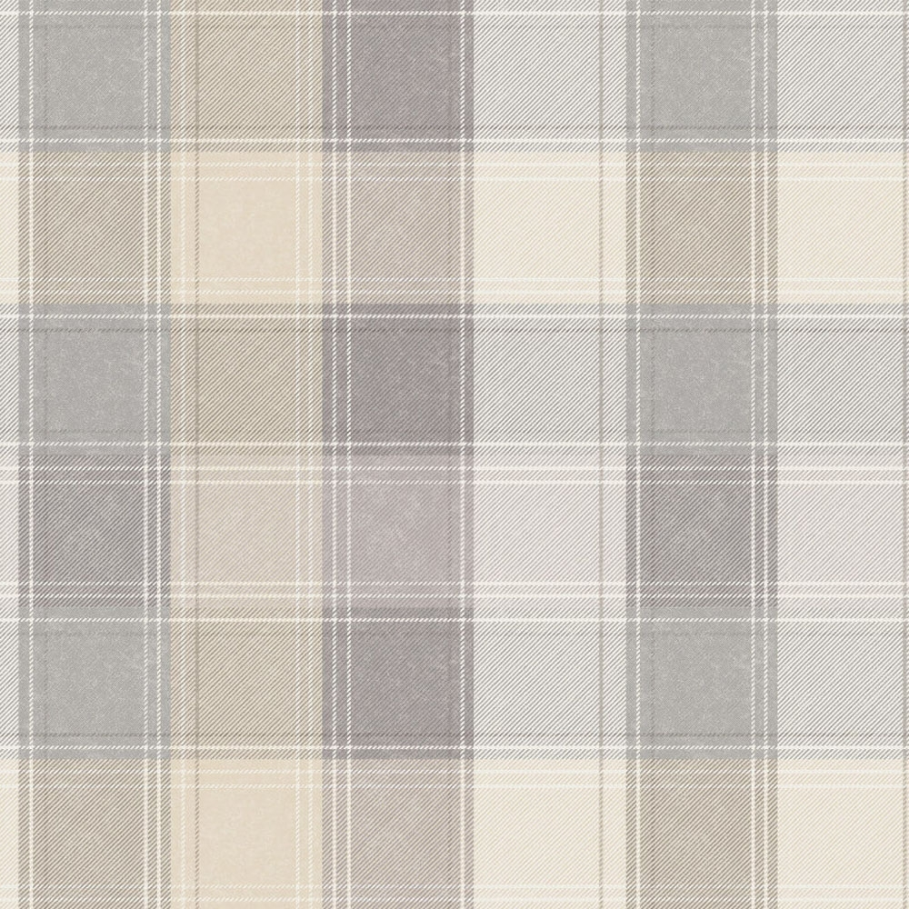 Country Check Patterned Wallpaper Grey