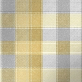 Country Check Patterned Wallpaper Ochre