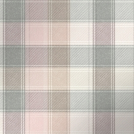 Country Check Patterned Wallpaper Pink, Grey