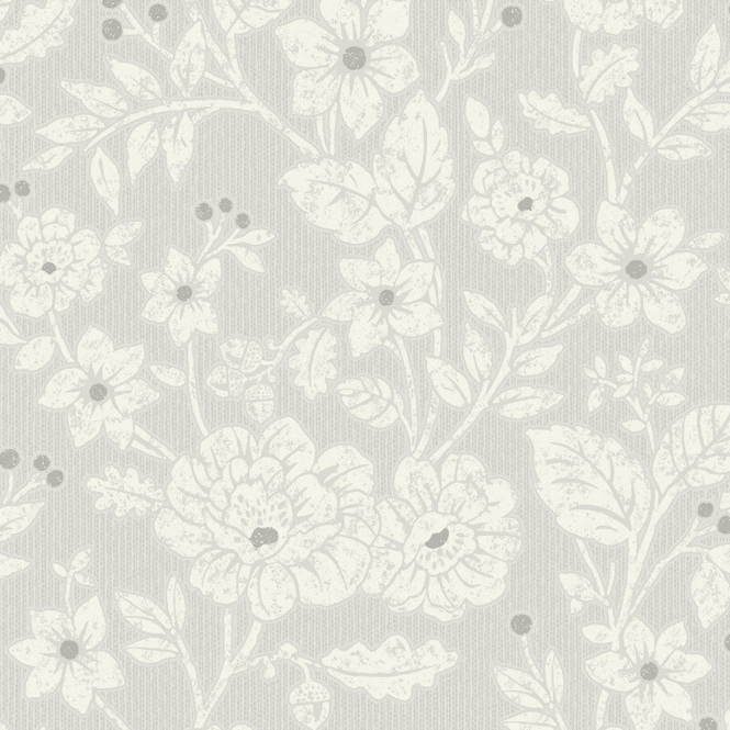 Crown Alexandra Floral Wallpaper Silver Grey