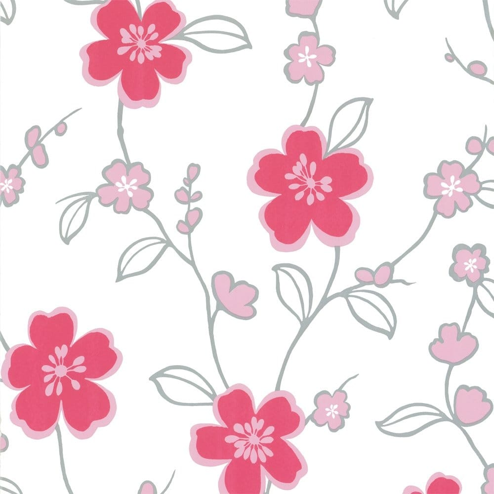 Crown coriander wallpaper pink white silver m0431 for Pink and silver wallpaper