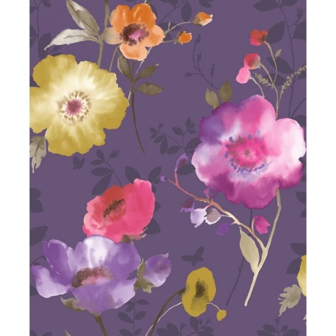 Crown Delicia Floral Wallpaper Damson Purple Yellow