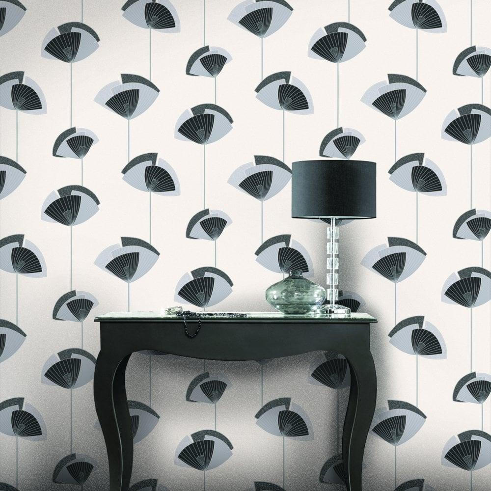 Fanfare Wallpaper Diamond Black White Silver M0688