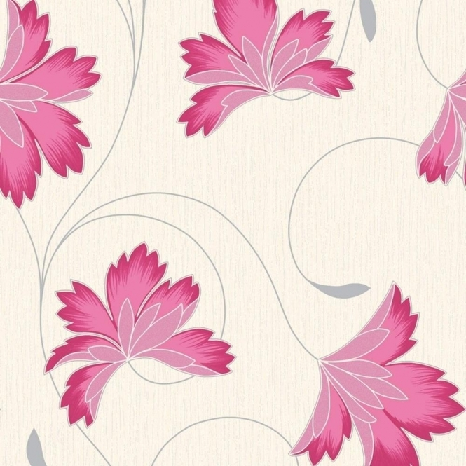 Crown Flourish Wallpaper Raspberry Pink / Cream (M0625)