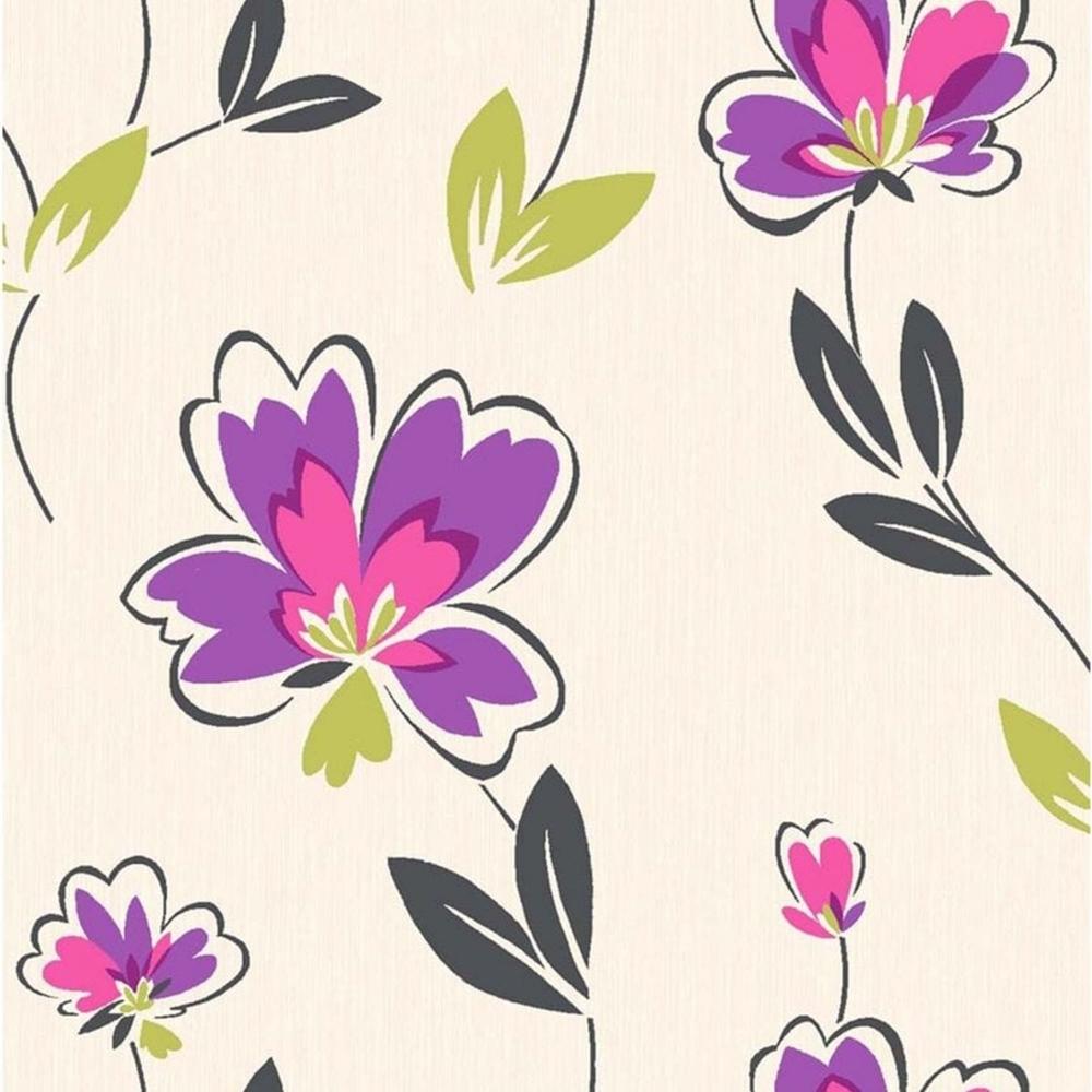 Fresh Hot Purple Floral Wallpaper Black Green M0774