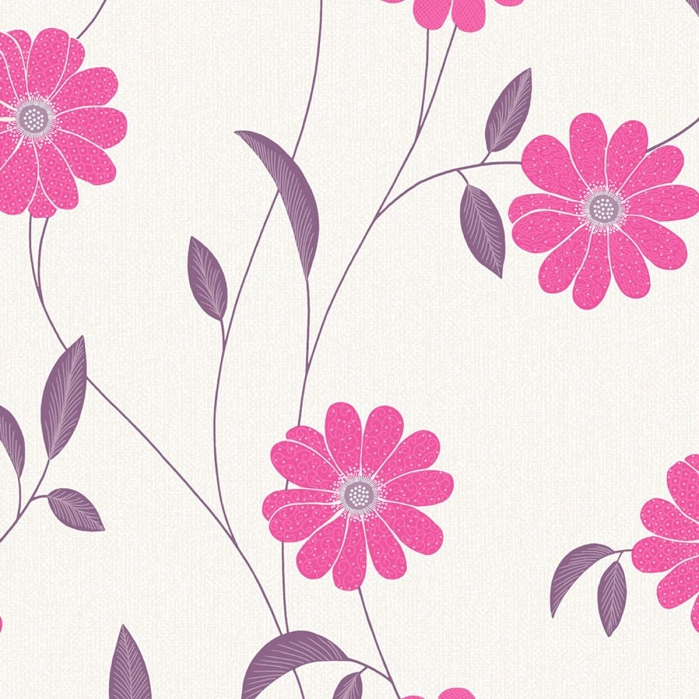 Floral Wallpaper Crown Giorgio Floral Wallpaper Berry Pink  Cream M0718