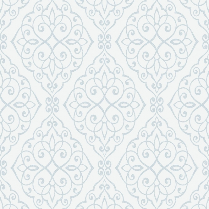 Crown Jasmine Wallpaper Powder Blue Sparkle (M1090)
