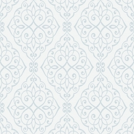 Crown Jasmine Damask Wallpaper Powder Blue Sparkle