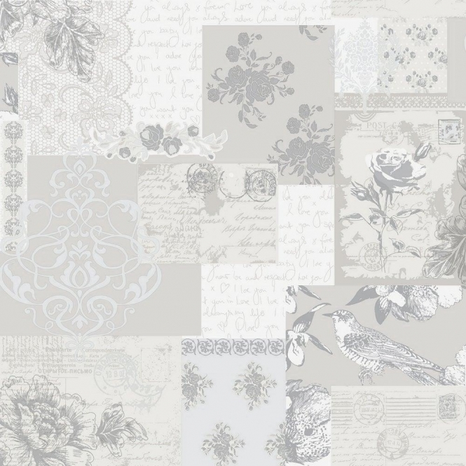 Crown Love Letters Wallpaper Parchment Taupe, Cream, Silver (M0817)