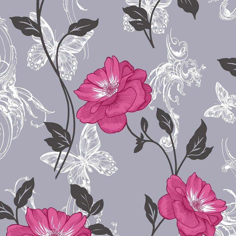 Crown Millie Floral Wallpaper Charcoal And Pink (M0877