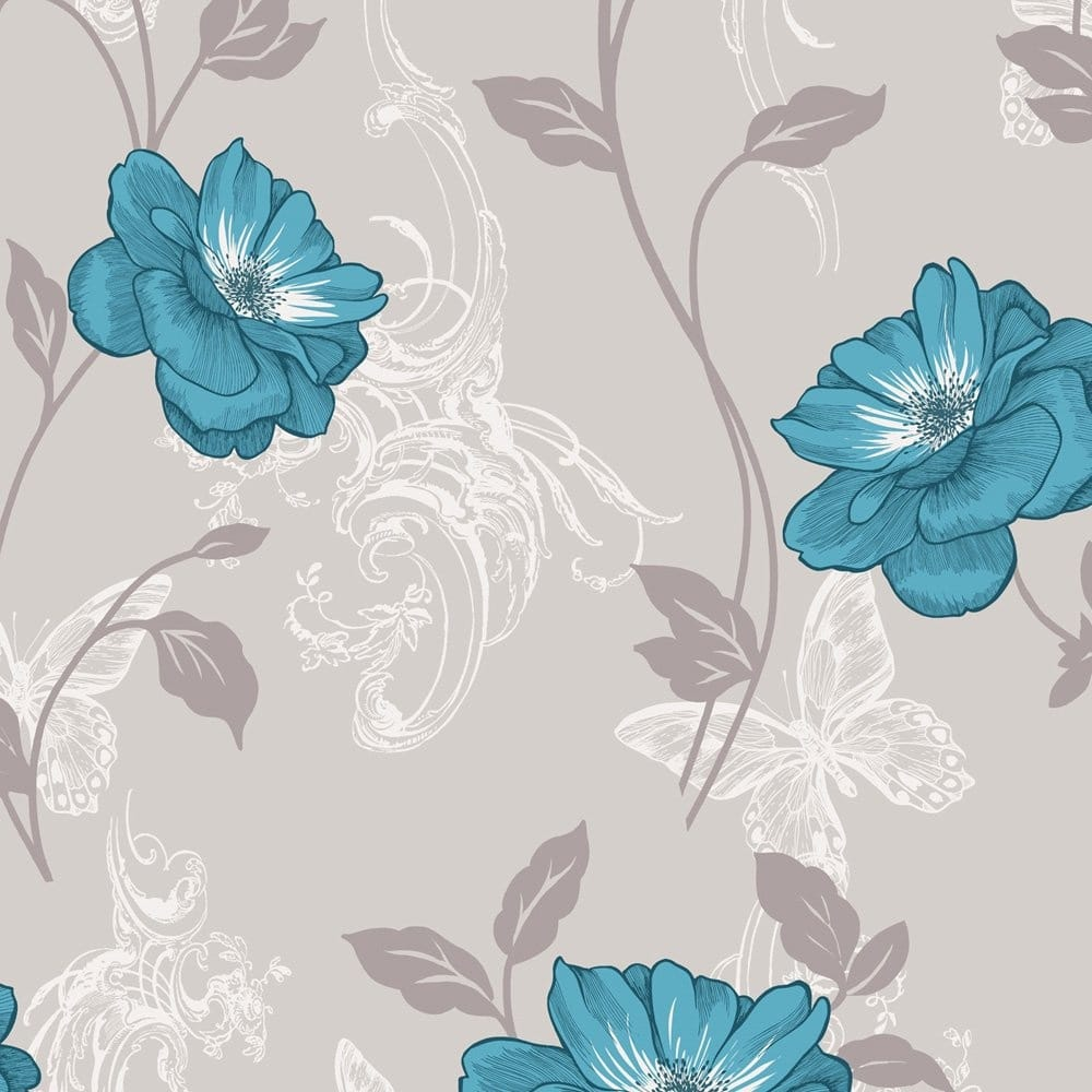 Crown Millie Floral Wallpaper Teal M0879 Wallpaper