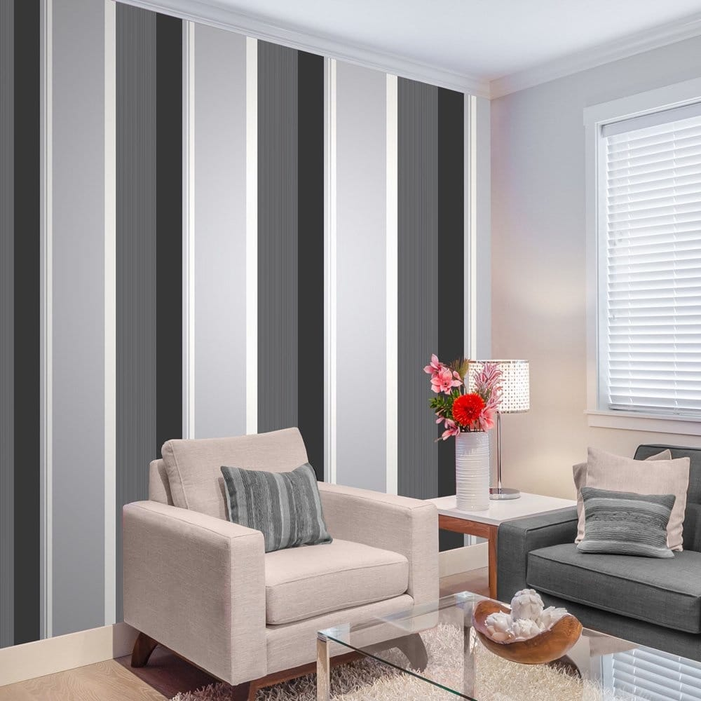 Millie Stripe Wallpaper Charcoal (M0881) Part 98