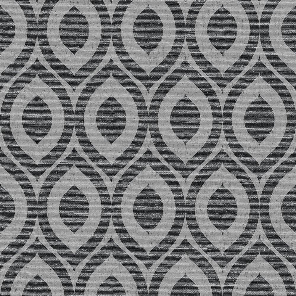Crown Rimini Geometric Wallpaper Black Silver M1161