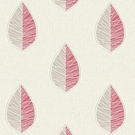 Crown Scandi Leaf Wallpaper Red