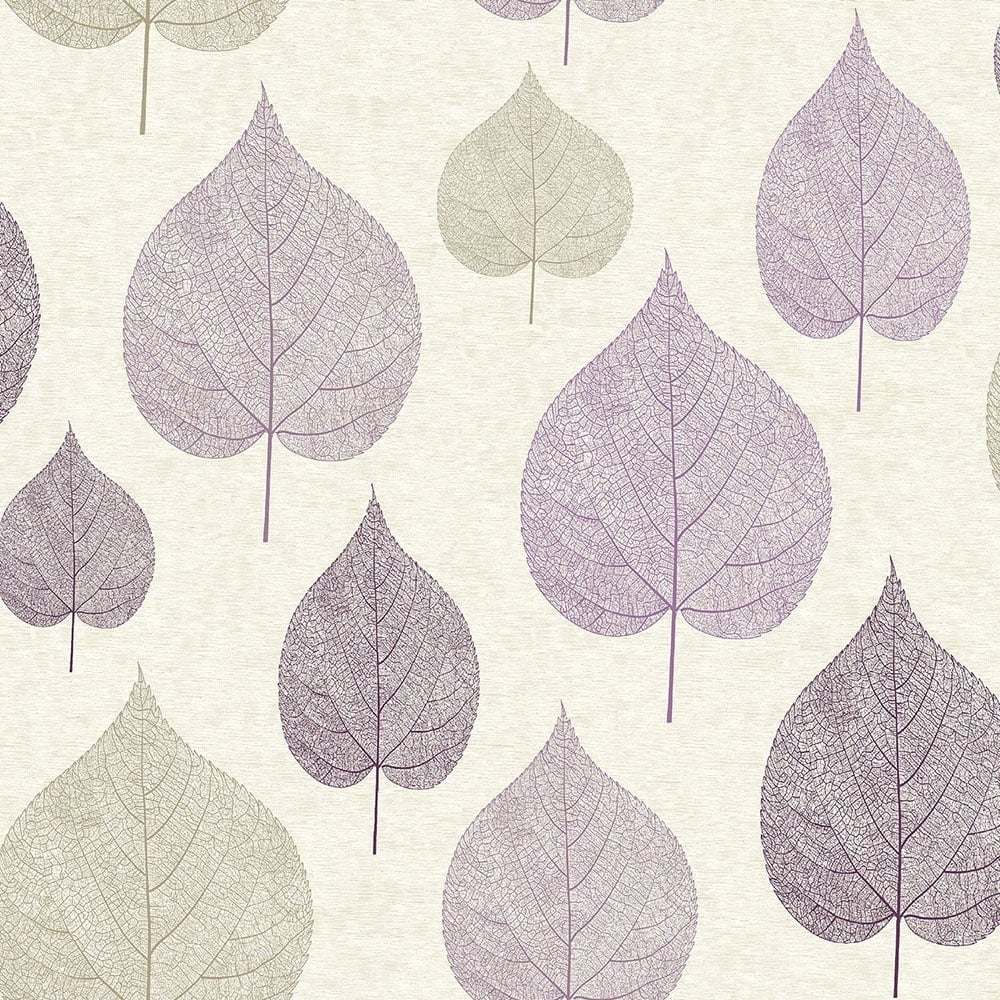 Crown Signature Leaf Wallpaper Plum M1068