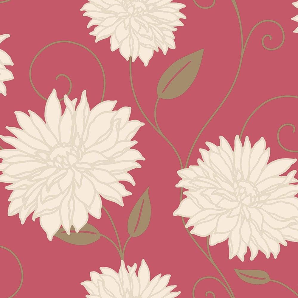 Crown Starflower Floral Wallpaper Red (M0610)