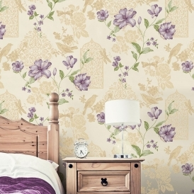 Crown Sweet Cherry Wallpaper Ivory Sparkle (M1086)