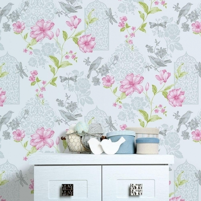 Crown Sweet Cherry Wallpaper Powder Blue Sparkle (M1087)