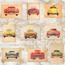 Cuban Cars Wallpaper Multicoloured (102528)