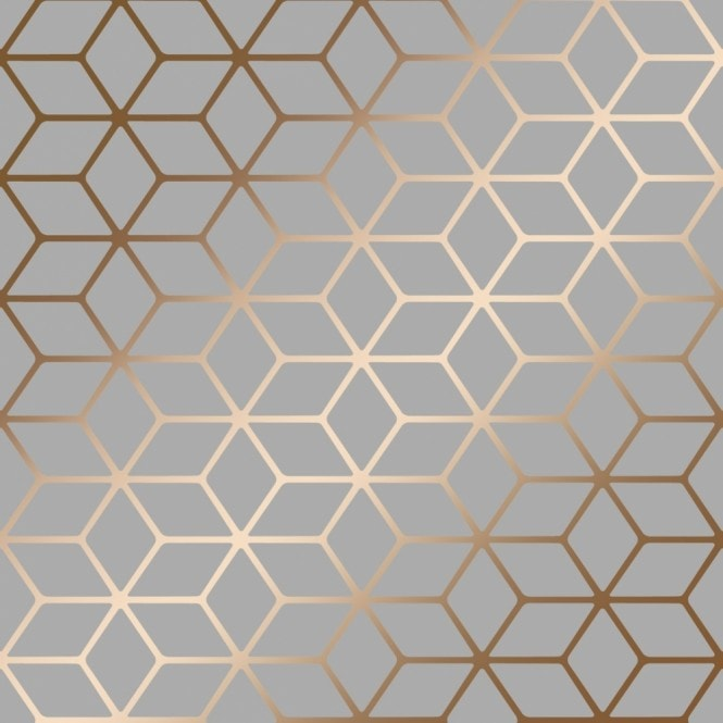 House of Alice Cubic Shimmer Metallic Wallpaper Grey Copper