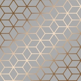 Cubic Shimmer Metallic Wallpaper Grey Copper