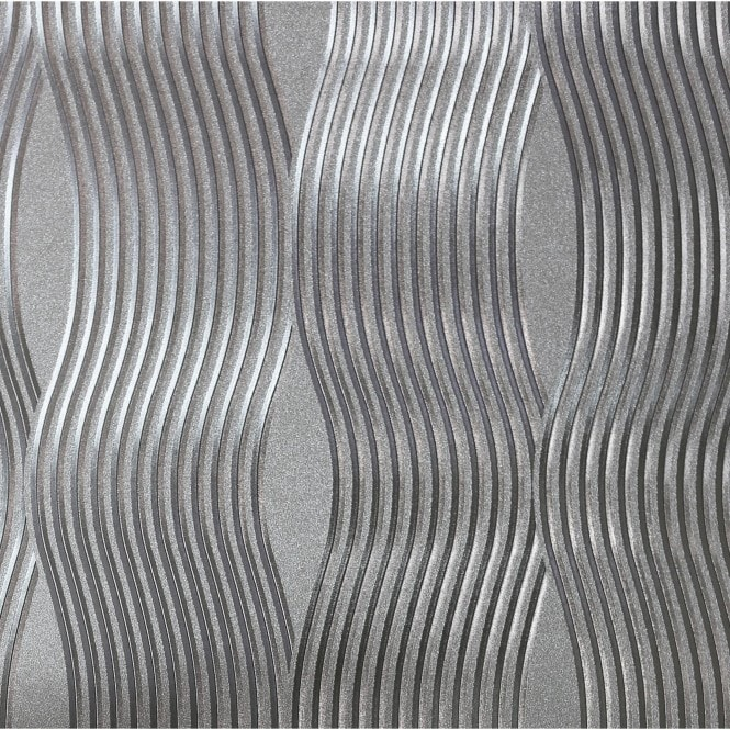 Henderson Interiors Curve Metallic Wallpaper Silver (901507)