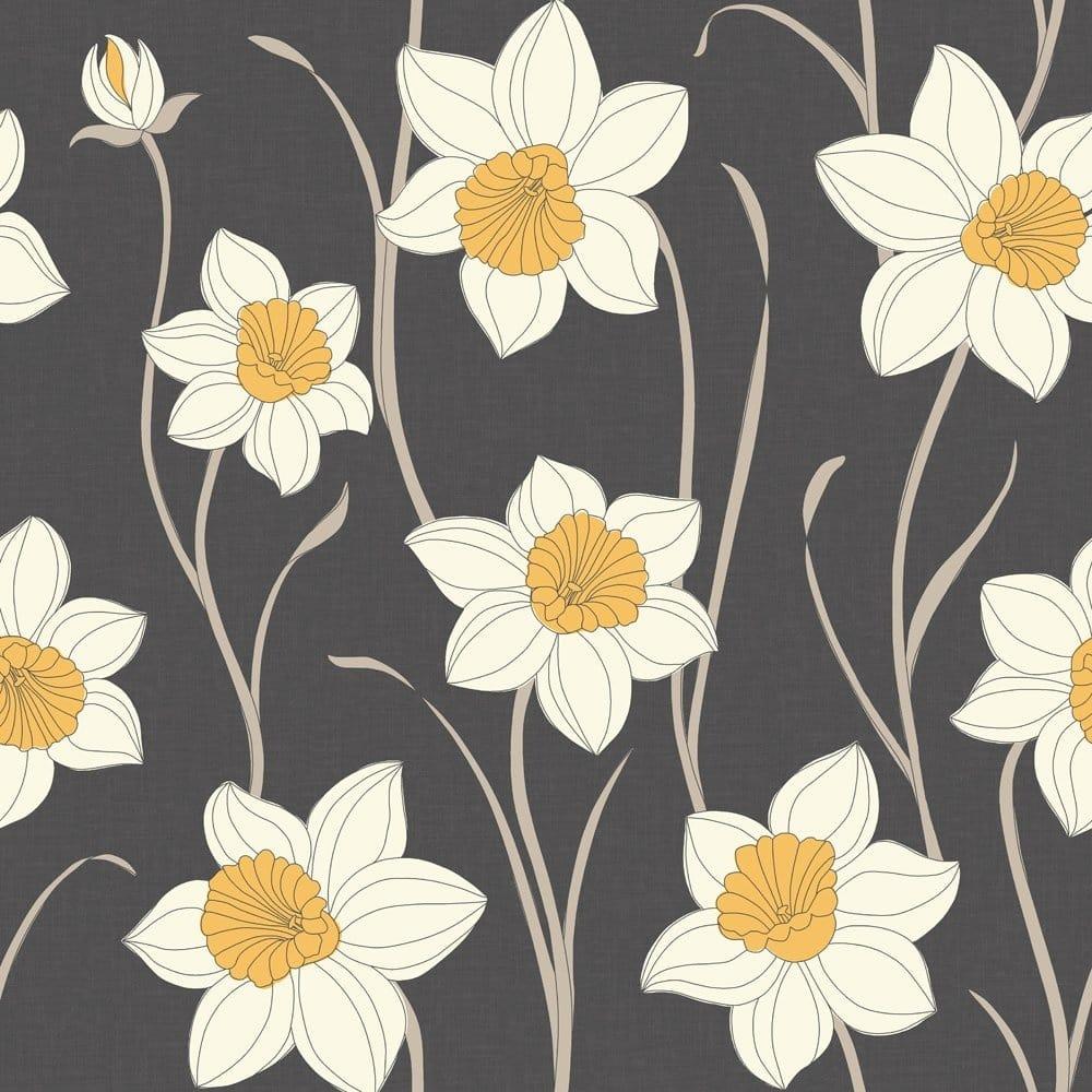 Fine Decor Daffodil Wallpaper Charcoal Black White
